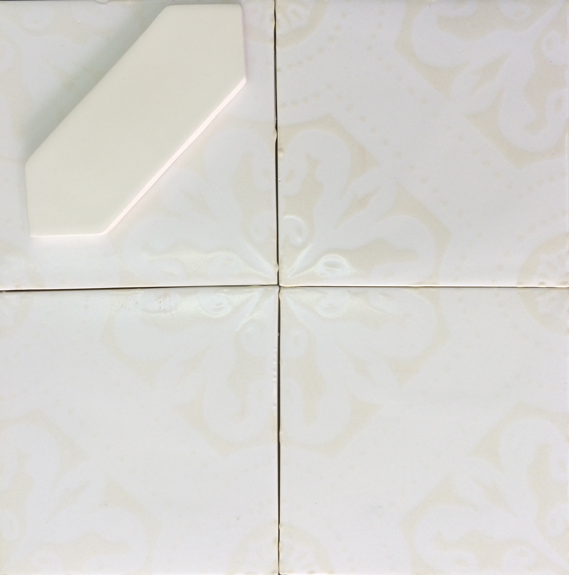 Orleans handmade ceramic tile orleans 6x6 alabaster over white matte dailygadgetfo Gallery